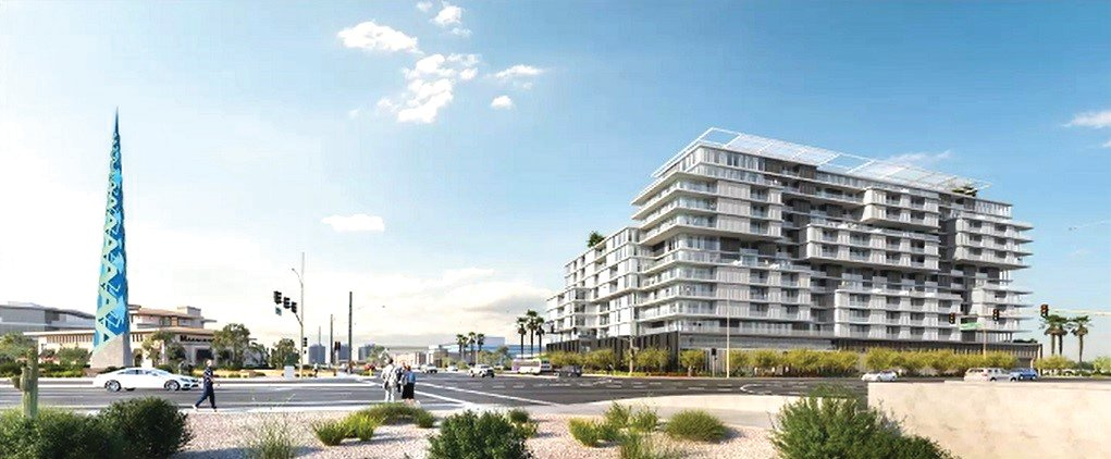Artist rendering of proposed 14-story apartment building in north Scottsdale.